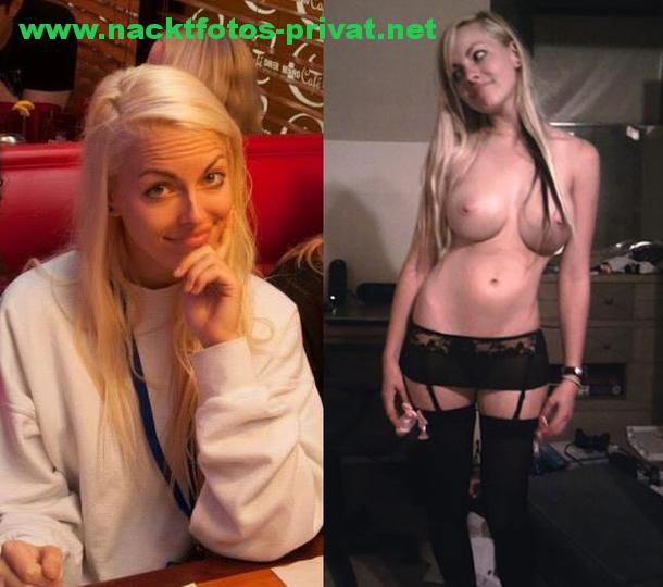 Blonde Hostesse Nackt Und Angezogen Vergleichs Foto